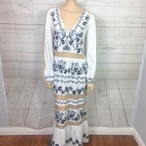 2773d17b24 Floryday Dresses -  Floryday  White Sheer Panel Embroidery Maxi Dress
